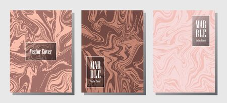 Modern marble prints, vector cover design templates. Fluid marble stone texture iInteriors fashion magazine backgrounds  Corporate journal patterns set of liquid ink waves. Report covers.