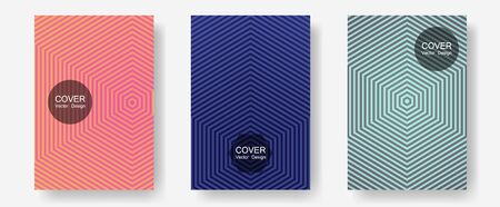 Abstract shapes of multiple lines halftone patterns. Music placards. Halftone lines annual report templates. Laconic nifty mockups. Cool abstract shapes gradient texture backgrounds. Illusztráció