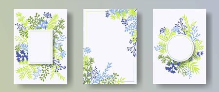Hand drawn herb twigs, tree branches, leaves floral invitation cards templates. Plants borders natural cards design with dandelion flowers, fern, lichen, eucalyptus leaves, savory twigs.