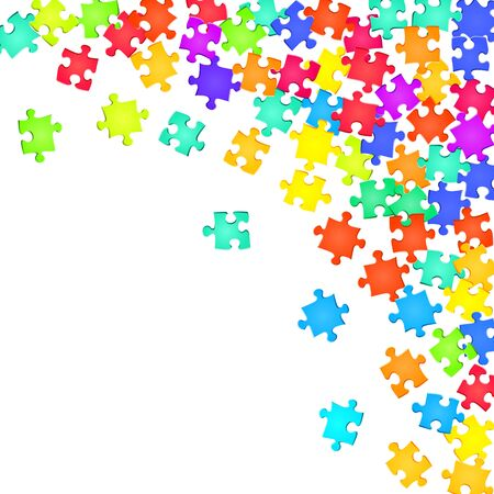 Business crux jigsaw puzzle rainbow colors parts vector illustration. Scatter of puzzle pieces isolated on white. Strategy abstract concept. Kids building kit pattern.