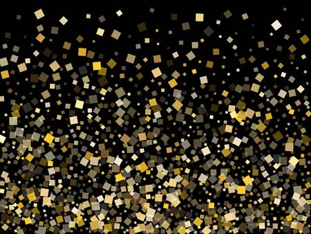 Chaotic gold square confetti tinsels scatter on black. Rich New Year vector sequins background. Gold foil confetti party particles isolated. Overlay pieces surprise backdrop. 일러스트