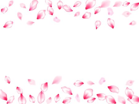 Japanese cherry blossom pink flying petals windy blowing background. Oriental composition. SPA beauty illustration of sakura bloom petals. Isolated flower parts wedding decoration vector. Archivio Fotografico - 138201960