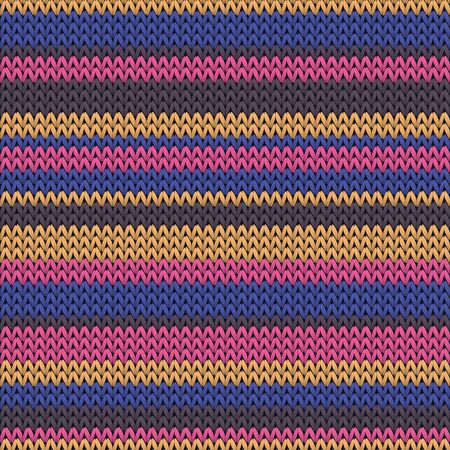 Cool horizontal stripes knitted texture geometric vector seamless. Jumper stockinet ornament. Winter seamless knitted pattern. Fabric canvas illustration. Vecteurs