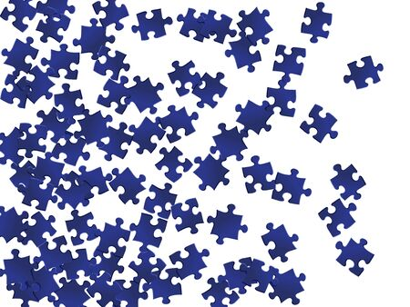 Abstract riddle jigsaw puzzle dark blue pieces vector background. Top view of puzzle pieces isolated on white. Teamwork abstract concept. Jigsaw pieces clip art.