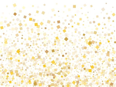 Small gold confetti sequins tinsels falling on white. Shiny Christmas vector sequins background. Gold foil confetti party glitter isolated. Many sparkles surprise backdrop.
