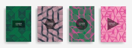 Halftone shapes minimal geometric cover templates set graphic design. Halftone lines grid vector background of triangle, hexagon, rhombus, circle shapes. Future geometric cover flyer backgrounds.
