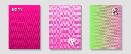 Halftone gradient texture vector cover layouts. Digital collection. Zigzag halftone lines wave stripes backdrops. Balanced posh mockups. Multiple lines cool gradient texture backgrounds.