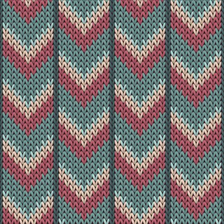 Trendy downward arrow lines christmas knit geometric seamless pattern. Jacquard knitwear structure imitation. Norwegian style seamless knitted pattern. Cozy textile print design.