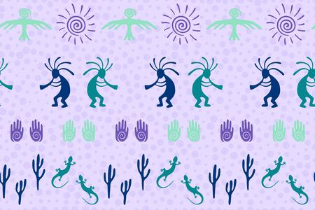 Native american indian vector ethnic tribal motifs seamless pattern. Folk design with trickster god, swirl icons on human palm, sun, eagle. Navajo indian art abstract pattern. Ilustrace
