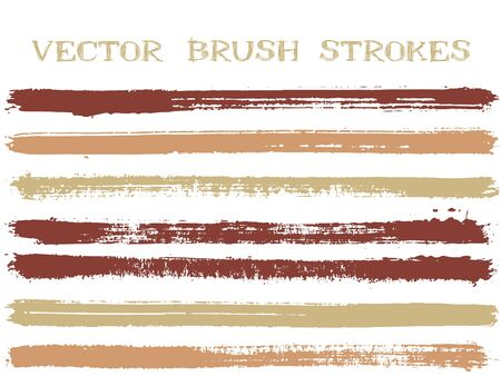 Scribble ink brush strokes isolated design elements. Set of paint lines. Messy Ink brushe stripes isolated on white, vector colors guide book samples.