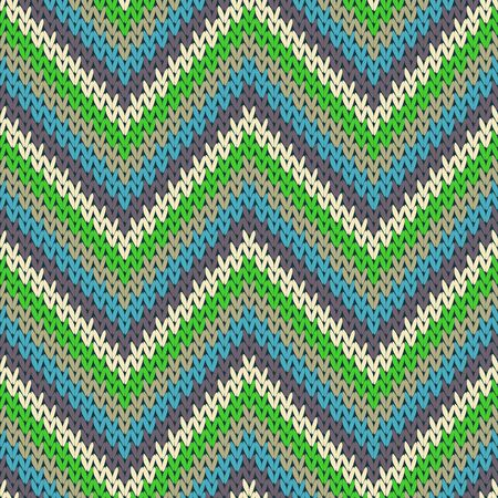 Trendy zigzag chevron stripes christmas knit geometric seamless pattern. Jumper stockinet ornament. Norwegian style seamless knitted pattern. Repeatable background.