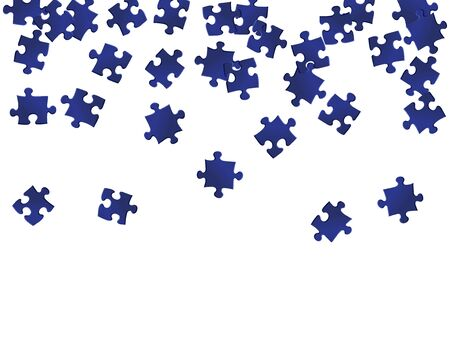 Abstract tickler jigsaw puzzle dark blue parts vector illustration. Top view of puzzle pieces isolated on white. Cooperation abstract concept. Jigsaw match elements.