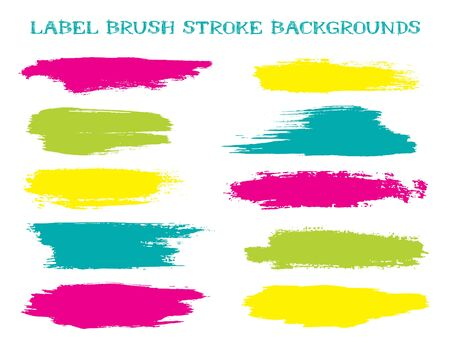 Vintage label brush stroke backgrounds, paint or ink smudges vector for tags and stamps design. Painted label backgrounds patch. Color combinations catalog elements. Ink dabs, yellow splashes. Banque d'images - 138338792