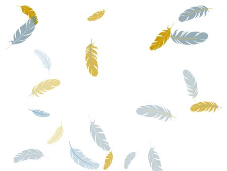 Tender silver gold feathers vector background. Easy plumelet ethnic indian graphics. Fluffy twirled feathers on white design. Plumage fluff dreams symbols.
