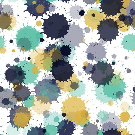 Graffiti spray transparent stains vector seamless wallpaper pattern. Messy ink splatter, spray blots, mud spot elements seamless. Watercolor paint splashes pattern, smear liquid stains. Banque d'images - 138338807