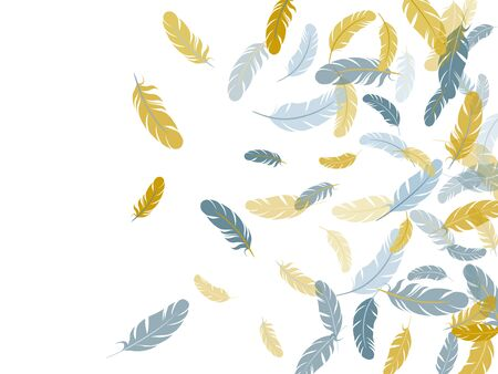 Glamour silver gold feathers vector background. Plumage fluff dreams symbols. Lightweigt plumelet windy floating pattern. Flying feather elements airy vector design. Ilustração