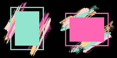 Glamour frames with paint brush strokes vector set. Box borders with painted brushstrokes on black. Educational graphics design empty frame templates for banners, flyers, posters, cards.