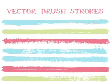 Trendy ink brush strokes isolated design elements. Set of paint lines. Grungy Ink brushe stripes isolated on white, vector color palette samples. Banque d'images - 138385625