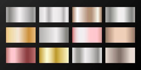 Metallic gradients vector set: silver, platinum, bronze, rose gold. Foil chrome, alloy, aluminum, titanium, copper, silver, yellow and pink gold, platinum, steel, bronze background swatches.