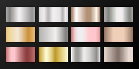 Metallic gradients vector set: silver, platinum, bronze, rose gold. Foil chrome, alloy, aluminum, titanium, copper, silver, yellow and pink gold, platinum, steel, bronze background swatches.