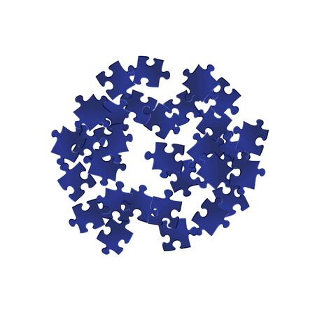 Game crux jigsaw puzzle dark blue parts vector illustration. Top view of puzzle pieces isolated on white. Success abstract concept. Kids building kit pattern.