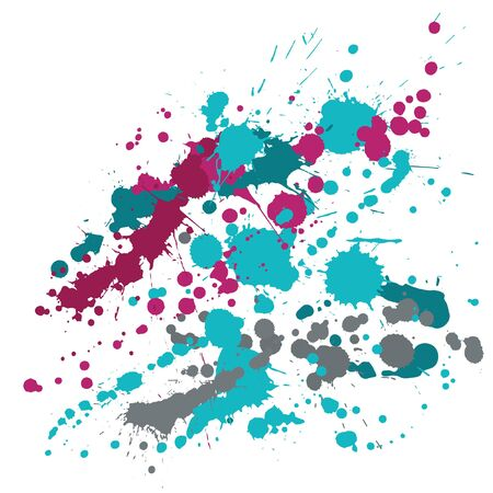 Ink stains grunge background vector. Graphic ink splatter, spray blots, dirty spot elements, wall graffiti. Watercolor paint splashes pattern, smear fluid splats stains background.