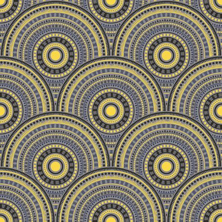 Mexican geometric shapes batik print vector seamless pattern. Ethnic motifs decorative line art geometry. Native indian ethnic round medallion circles seamless geometric pattern. Çizim
