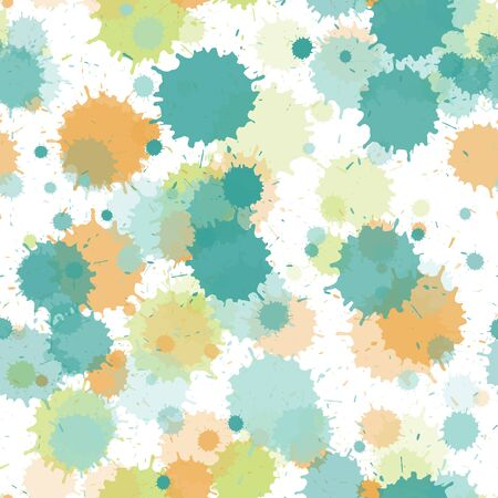 Watercolor paint transparent stains vector seamless grunge background. Retro ink splatter, spray blots, mud spot elements seamless. Watercolor paint splashes pattern, smear liquid stains.