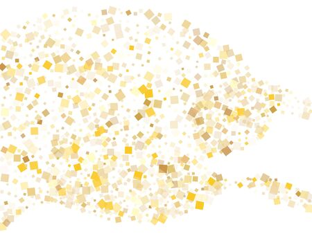 Abstract gold square confetti tinsels falling on white. Chic New Year vector sequins background. Gold foil confetti party particles space. Light dust particles invitation backdrop. 向量圖像