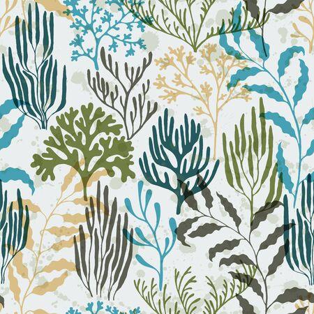Coral polyps seamless pattern. Kelp laminaria seaweed algae background. Mediterranean staghorn and pillar corals bushes. Aquarium water plants summer vector design. Natural summer pattern.