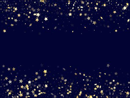 Gold gradient star dust sparkle vector background. Carnival gold star sparkles dust elements on dark blue night sky vector illustration. Birthday confetti glitter decoration. Ilustracja