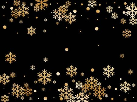 Winter snowflakes and circles border vector design. Unusual gradient snow flakes isolated poster background. New Year card border holiday pattern with simple snowflake elements isolated. Banque d'images - 138465940