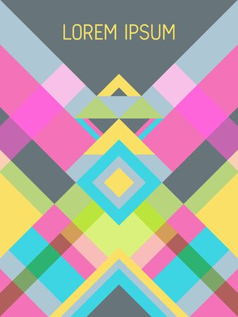 Plaid cover page layout vector template geometric design with triangles and stripes pattern. Carnival mexican motifs. Striped bauhaus pattern vector cover design. Trendy geometry. Ilustracja