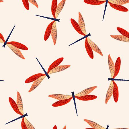 Libelle minimales nahtloses Muster. Frühlingskleid Stoffdruck mit Stopfnadelinsekten. Grafischer Wasserlibellenvektorhintergrund. Fauna Kreaturen nahtlos. Damselfly Schmetterlinge. Vektorgrafik