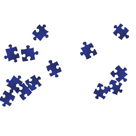 Abstract crux jigsaw puzzle dark blue pieces vector background. Group of puzzle pieces isolated on white. Strategy abstract concept. Jigsaw pieces clip art.