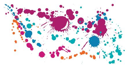 Gouache paint stains grunge background vector. Messy ink splatter, spray blots, mud spot elements, wall graffiti. Watercolor paint splashes pattern, smear liquid stains spots backdrop.