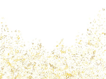 Gold flying musical notes isolated on white backdrop. Metallic musical notation symphony signs, notes for sound and tune music. Vector symbols for melody recording, prints and back layers. Banco de Imagens - 138530984
