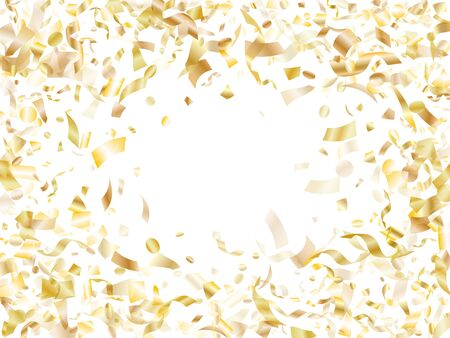 Gold sparkling confetti flying on white holiday card background. Beautiful flying sparkle elements, gold foil gradient serpentine streamers confetti falling new year vector. Vettoriali