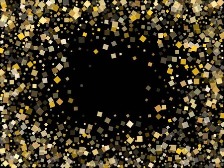 Glossy gold confetti sequins sparkles falling on black. Glittering New Year vector sequins background. Gold foil confetti party decoration isolated. Square pieces invitation backdrop.