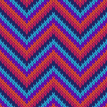 Handicraft zigzag chevron stripes knitted texture geometric vector seamless. Rug knitwear fabric print. Traditional seamless knitted pattern. Fabric canvas illustration.