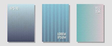 Halftone flat patterns abstract vector set. Technological formers. Zigzag halftone lines wave stripes backdrops. Corporate catalogs. Geometric covers of lines gradient flat patterns. Illusztráció