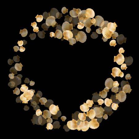 Gold seashells vector, golden pearl bivalved mollusks. Macro scallop, bivalve pearl shell, marine mollusk isolated on black wild life nature background. Trendy gold sea shell illustration.