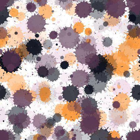 Graffiti spray transparent stains vector seamless wallpaper pattern. Colorful ink splatter, spray blots, dirty spot elements seamless. Watercolor paint splashes pattern, smear fluid splats. Ilustração