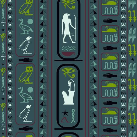 Trendy egypt writing seamless background. Hieroglyphic egyptian language symbols grid. Repeating ethnical fashion illustration for wrapping paper.