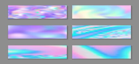 Holography bright banner horizontal fluid gradient princess backgrounds vector set. Opalescence holography texture gradients. Fluid liquid print abstract princess backgrounds.