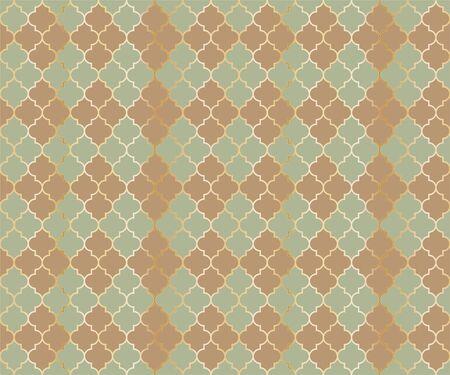 Islamic Mosque Vector Seamless Pattern. Argyle rhombus muslim fabric background. Traditional mosque pattern with gold grid. Cool islamic argyle seamless design of lantern lattice shape tiles.