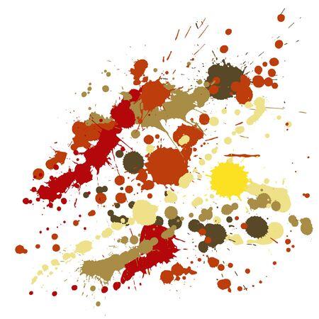 Paint stains grunge background vector. Graphic ink splatter, spray blots, mud spot elements, wall graffiti. Watercolor paint splashes pattern, smear liquid stains splatter background.
