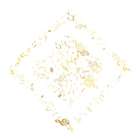 Gold flying musical notes isolated on white backdrop. Premium musical notation symphony signs, notes for sound and tune music. Vector symbols for melody recording, prints and back layers.