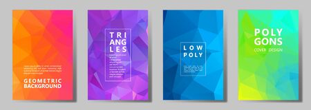 Facet low poly vivid cover page layouts vector graphic design set. Diamond texture low poly patterns. Gradient triangle polygons facet geometric abstract backgrounds.