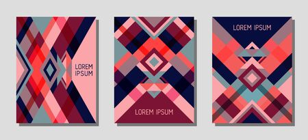 Set of cover page layouts, vector templates geometric design with triangles and stripes. Ethnic brazilian motifs. Bauhaus pattern vector covers design. Modern rhombus stripe triangle shapes.